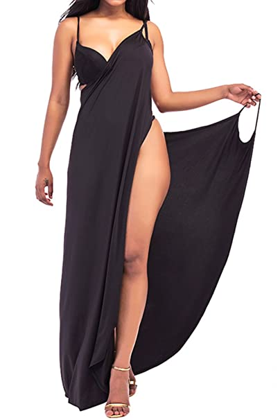 43d6aa92c1a Zonsaoja Women Plus Size Spaghetti Strap Cover Up Beach Wrap Long Dress  Black XS
