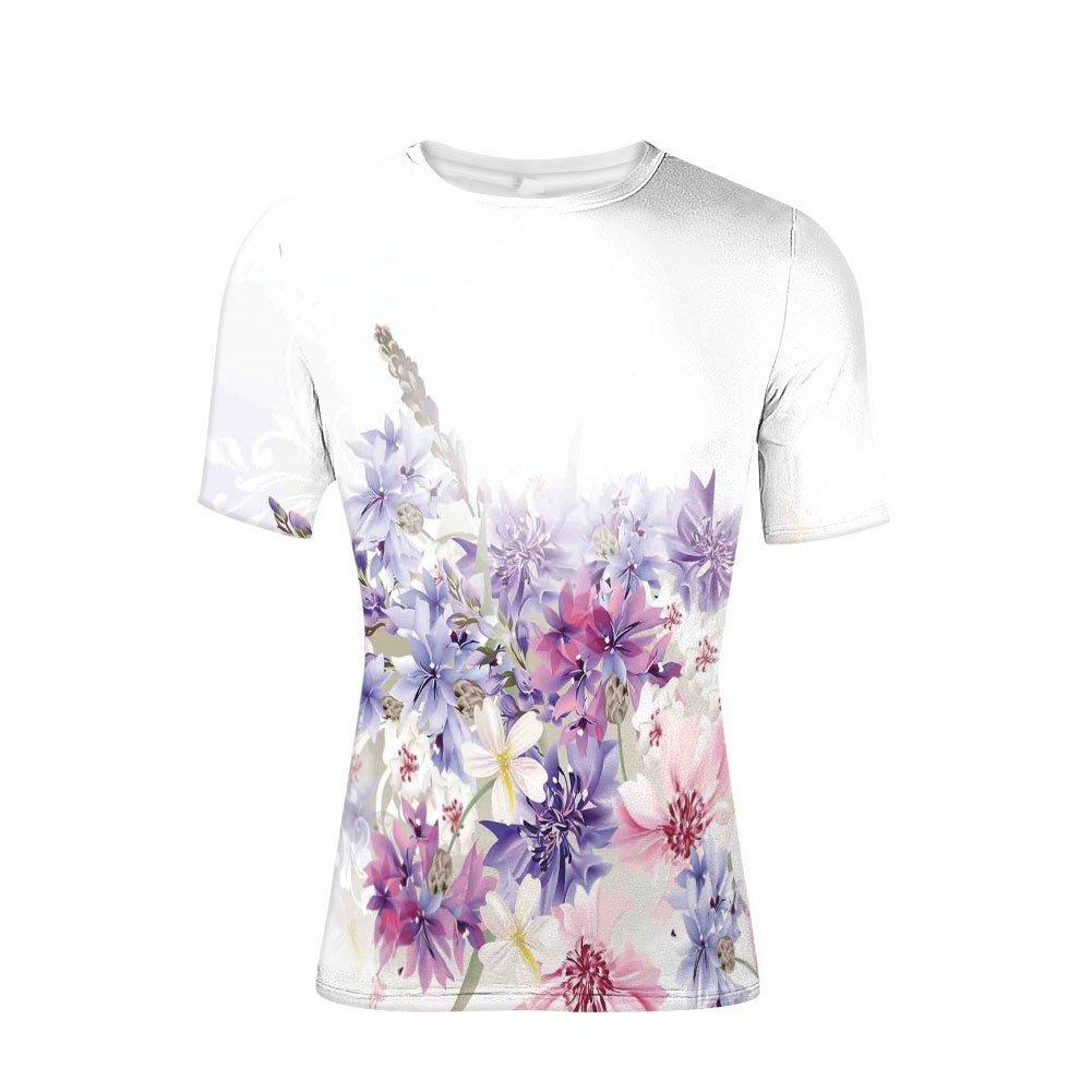 Tee Shirts Tops,Bridal Classic Design Gentle Floral Wedding Decor,Mens 3D Print