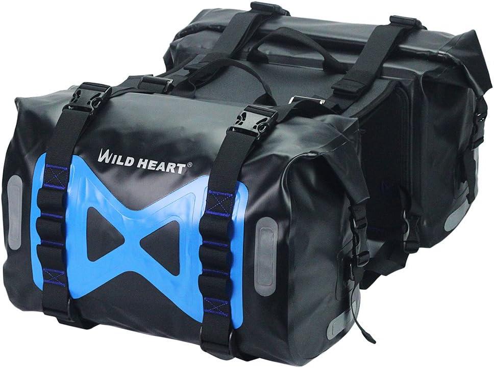 WILD HEART Waterproof bag Motorcycle saddlebag 50L Tank bag Motor Side bag (Black)