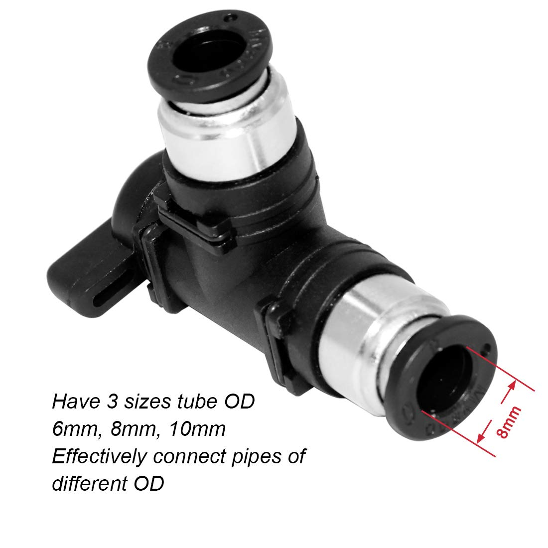 Beduan Push to Connect Fitting BUL Ball Valve Elbow Pneumatic Air Flow Control Valve Union Adapter Fitting 10mm x 10mm Tube OD