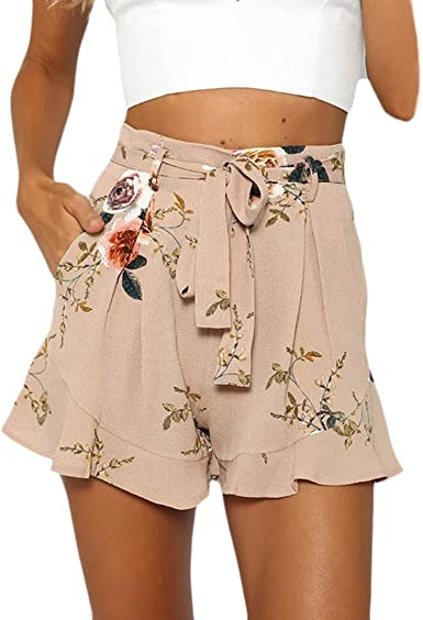 Crystallly Pantalon Corto Mujer Estampado Verano Elegantes Flores Fashion Talle Alto Estilo Simple Anchos Casual Playa Shorts Pantalones Cortos Con Cinturon Amazon Es Ropa Y Accesorios