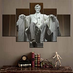 Native American Decor 5 Panel Canvas Wall Art US President Abraham Lincoln Pictures Paintings Modern Artwork Contemporary Home Decor for Living Room Giclee Framed Stretched Ready to Hang(60''Wx40''H)