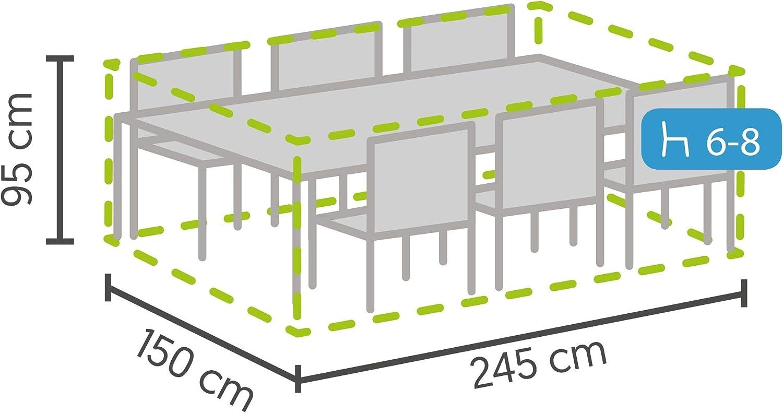 Impermeable Fundas para Muebles T/ÜV Rheinland Certificada Gris Resistente Agua 245 x 150 x 95 cm Protecci/ón Funda Protectora Jardin para Mesa Rectangular y Juego de Sillas