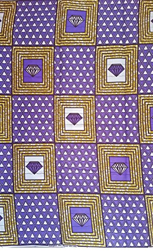 Julius Holland - Wax block - African Fabric cut diamond Ideal (2 Yards, Purple)