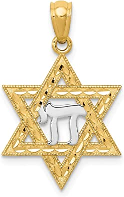 14k Yellow Gold Chai Pendant Charm Necklace Religious Judaica Fine Jewelry Gifts For Women For Her