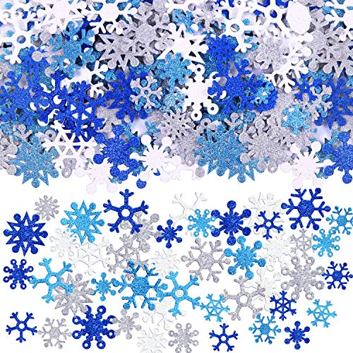 Aneco 500 Pieces Glitter Snowflakes Foam Stickers Self-Adhesive Winter Snowflake Stickers for Christmas Party and DIY Craft Projects
