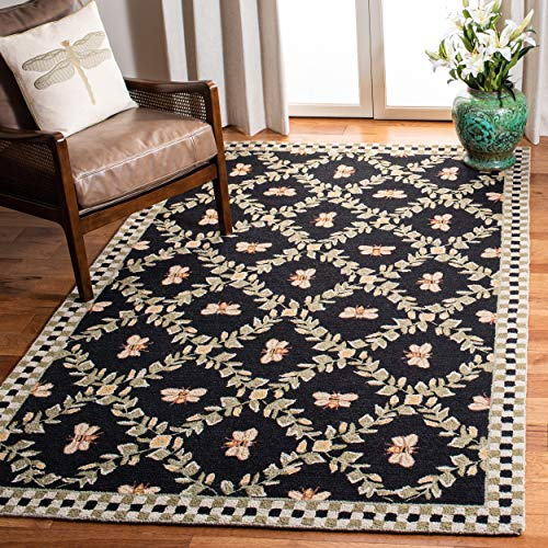 Safavieh Chelsea Collection HK55B Hand-Hooked Black Premium Wool Area Rug 6 x 9
