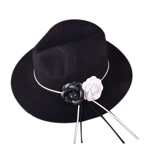 Señoras Otoño E Invierno Moda De Gama Alta Todo El Partido Lana Sombrero Monocromo Flores Señoras Ca...