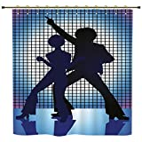 iPrint Shower Curtain,70s Party Decorations,Couple Silhouettes on the Dance Floor Night Life Oldies Fun,Blue Purple Black,Polyester Shower Curtains Bathroom Decor Sets with Hooks
