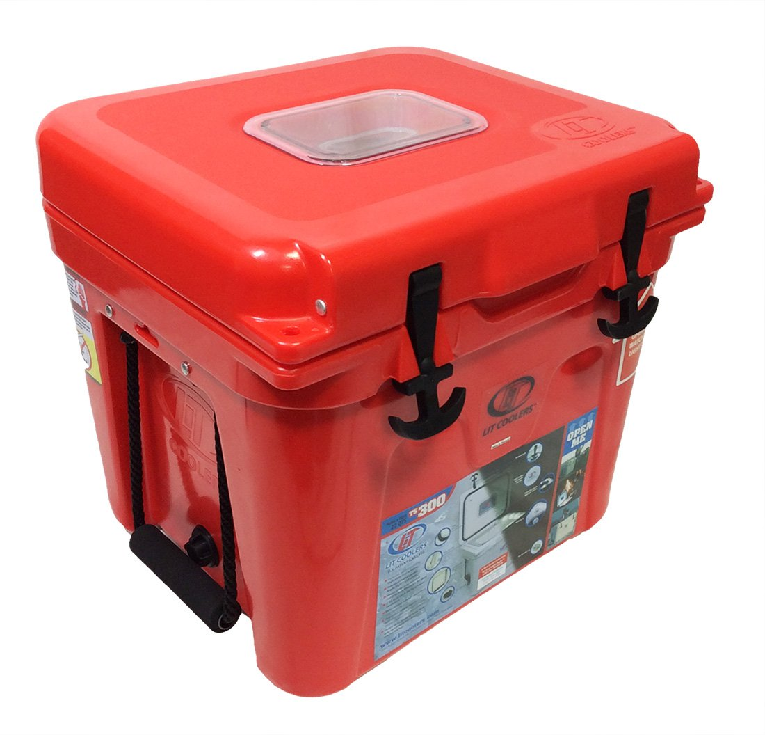 Lit Coolers Firefly TS-300 22 Qt Cooler-Red with White Liner