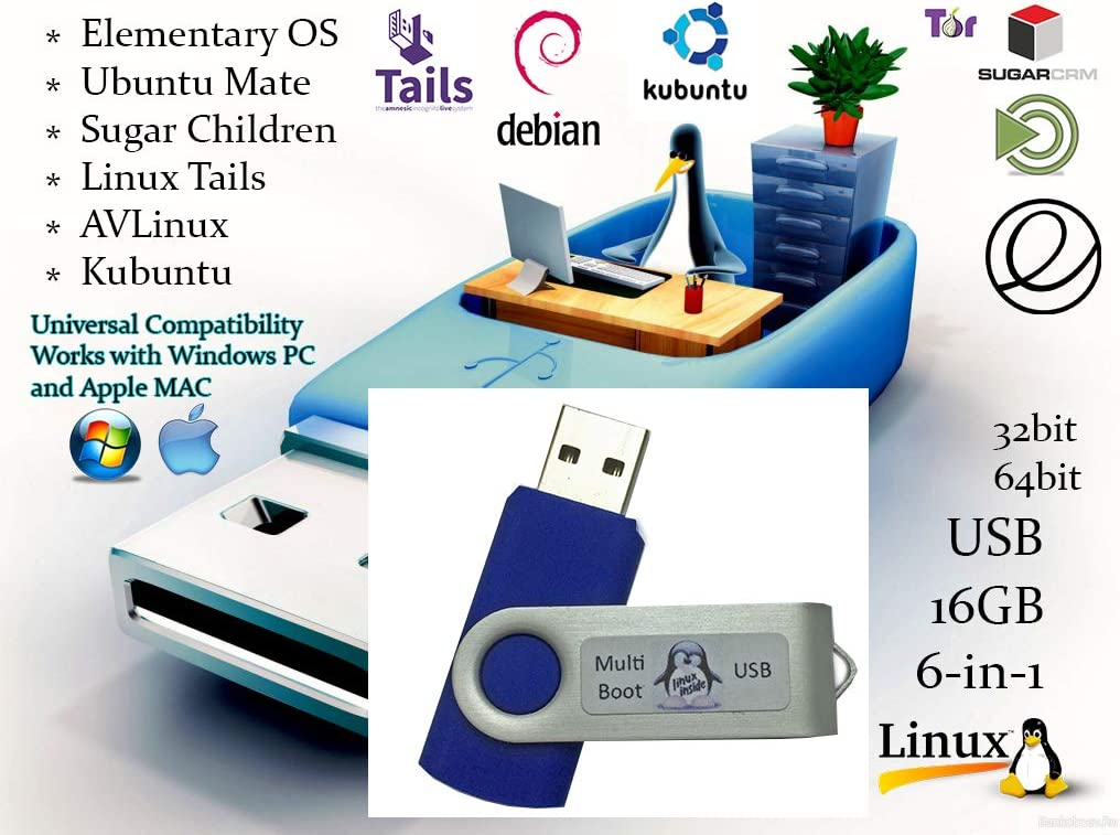 Universal 6-in-1 Linux Best Operating Systems Collection Install Recovery MultiBoot Bootable Live USB Flash Thumb Drive for PCs and MACs