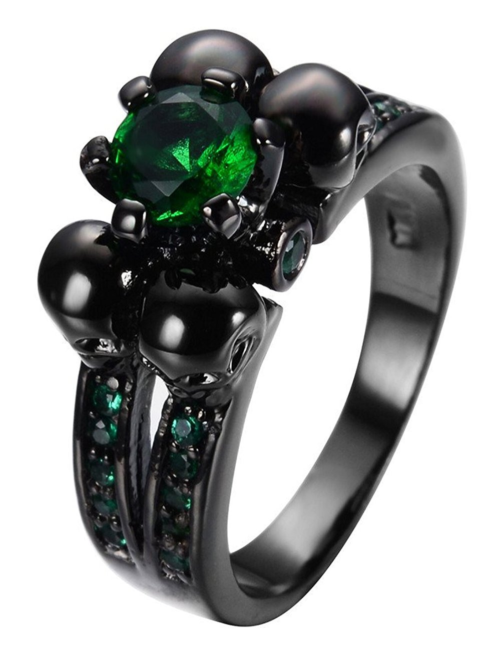 LILILEO Jewelry Ruby Skulls Engagement Wedding Ring Black Gold Green Plated Garnet For Womens Ring by LILILEO