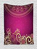 Lunarable Pink and Yellow Tapestry by, Vintage Arabian Classic Ornamental Swirled Bohemian Traditional Pattern, Wall Hanging for Bedroom Living Room Dorm, 60 W X 80 L Inches, Magenta Yellow