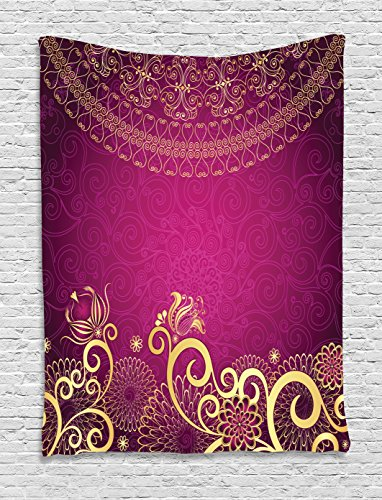 Lunarable Pink and Yellow Tapestry by, Vintage Arabian Classic Ornamental Swirled Bohemian Traditional Pattern, Wall Hanging for Bedroom Living Room Dorm, 60 W X 80 L Inches, Magenta Yellow by Lunarable