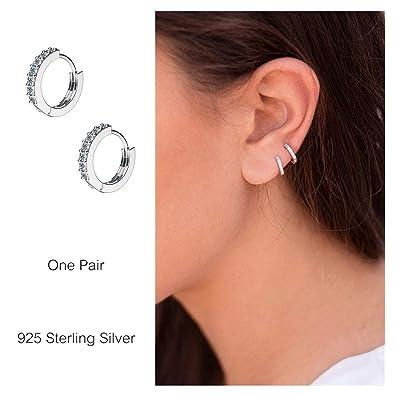 eb3c9ff07fee9 925 Sterling Silver Small Hoop Earrings Cubic Zirconia Cartilage Earring  Earing Piercing Earrings Ear Cuff Huggie Tiny Hoops Earrings for Women  Girls ...