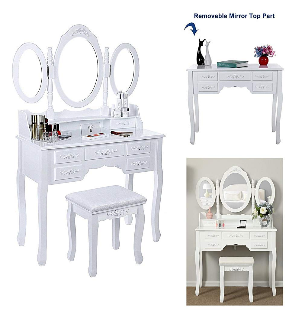 Fashionable dressing table Vintage Ann Style Legs Vanity Makeup 3 Collapsible Side Mirrors 7Drawers w/Stool Soft Cushion Pad Roses 3D Knob Storage Jewelry Cosmetic Wood Desk Black Home Decor Interior by Prettyshop4246