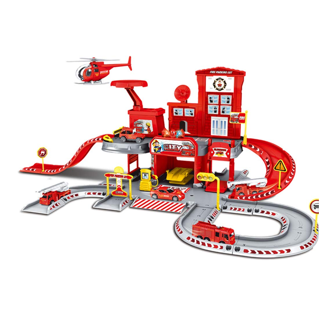 Parking Jouet 2 Etages Parking et Station Service avec 3 Vehicule Miniature 51 x 38 x 27cm TONGJI Garage Voiture Enfants Garage Jouet Enfant