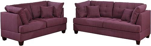 Bobkona 2-Pcs Sofa Loveseat Purple