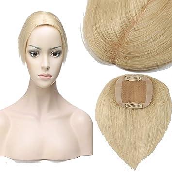 günstigen preis genießen Bestseller einkaufen beste website Toupet Clip in Extensions Echthaar Mono Spitze Toupets Frauen #613  Gebleichtes Blond 15g