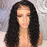 LIAZAHAIR Deep Curly Brazilian Virgin Hair Lace Front Wig With Baby Hair Pre-Plucked Natural Hairline Wigs For Ladies