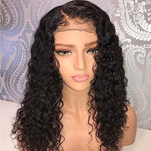 LIAZAHAIR Deep Curly Human Hair Lace Front Wigs With Baby Hair Pre-Plucked Natural Hairline Brazilian Virgin Hair Bob Wig For Ladies (26 inches, Lace front wig)