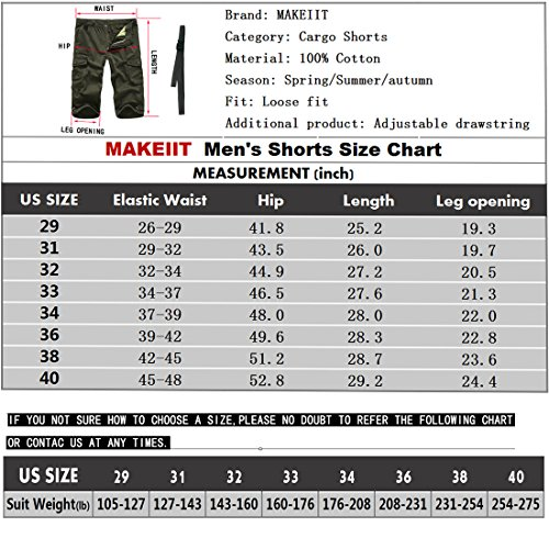 MAKEIIT Men's Juniors Cargo Shorts XXXL Cargo Shorts Dri Fit Cargo Shorts with Multi-Pocket by MAKEIIT (Image #5)
