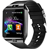 DZ09 Bluetooth Smart Watch - WJPILIS Smart Wrist Watch Smartwatch Phone Fitness Tracker SIM Card Slot Camera Pedometer Compatible iOS iPhone Android Samsung Phones Women Kids Men (Black)