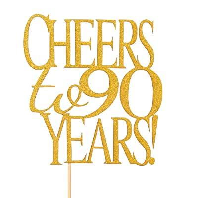 Stupendous Cheers To 90 Years Cake Topper Gold Glitter Hello 90 Happy 90 Personalised Birthday Cards Veneteletsinfo