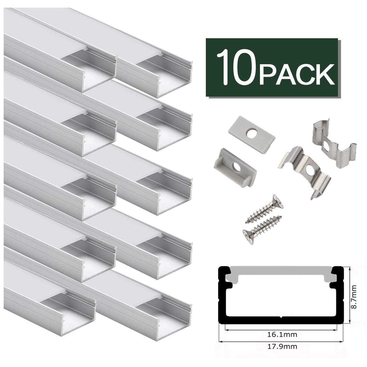 LED Aluminum Channel Wide 10-Pack for 16mm Wide Philips Hue Plus 2nd Generation,U Shape LED Aluminum Channel System with Cover, End Caps and Mounting Clips Aluminum Profile for LED Strip Light Instal