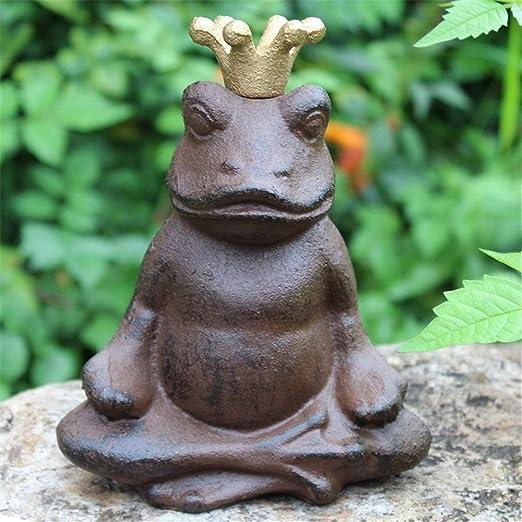 Estatua del Jardín Moldeada de la rana del hierro decoración de jardín Pequeño arte del hierro