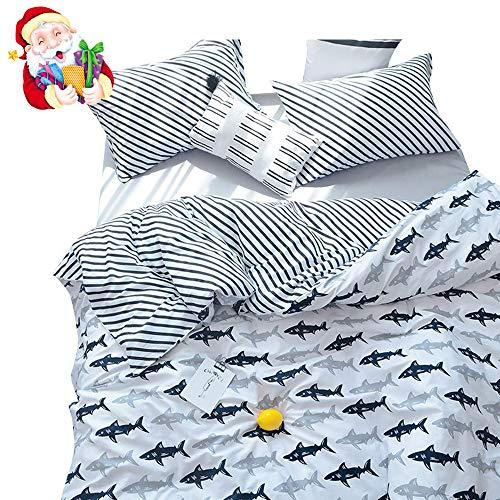 BuLuTu Navy Blue/Grey Shark Print Pattern Cotton US Queen Bedding Duvet Cover Sets(1 Duvet Cover 2 Pillow Shams) White for Kids Boys Full Quilt Bedding Sets with 4 Corner Ties Wholesale