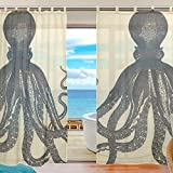 INGBAGS Bedroom Decor Living Room Decorations Octopus Pattern Print Tulle Polyester Door Window Sheer Curtain Drape Two Panels Set 55×78 inch ,Set of 2