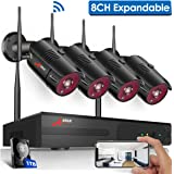 【8CH Expandable】Wireless Security Camera System,ANRAN Outdoor 8 Channel 1080P Home Video Wifi NVR Kit with 1TB HDD,4pcs 1080P