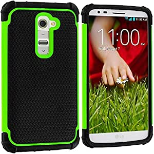 Accessory Planet(TM) Black / Neon Green Hybrid Rugged Matte Hard/Soft Protective Case Cover for LG G2 (Sprint, T-Mobile, At&t)