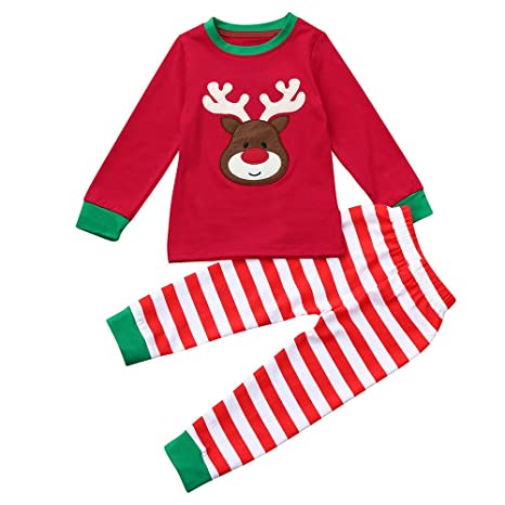 2c5856057 Baby Outfits,Christmas Kids Toddler Baby Girls Boys Deer Tops Stripe Pants  Outfit Set Clothes