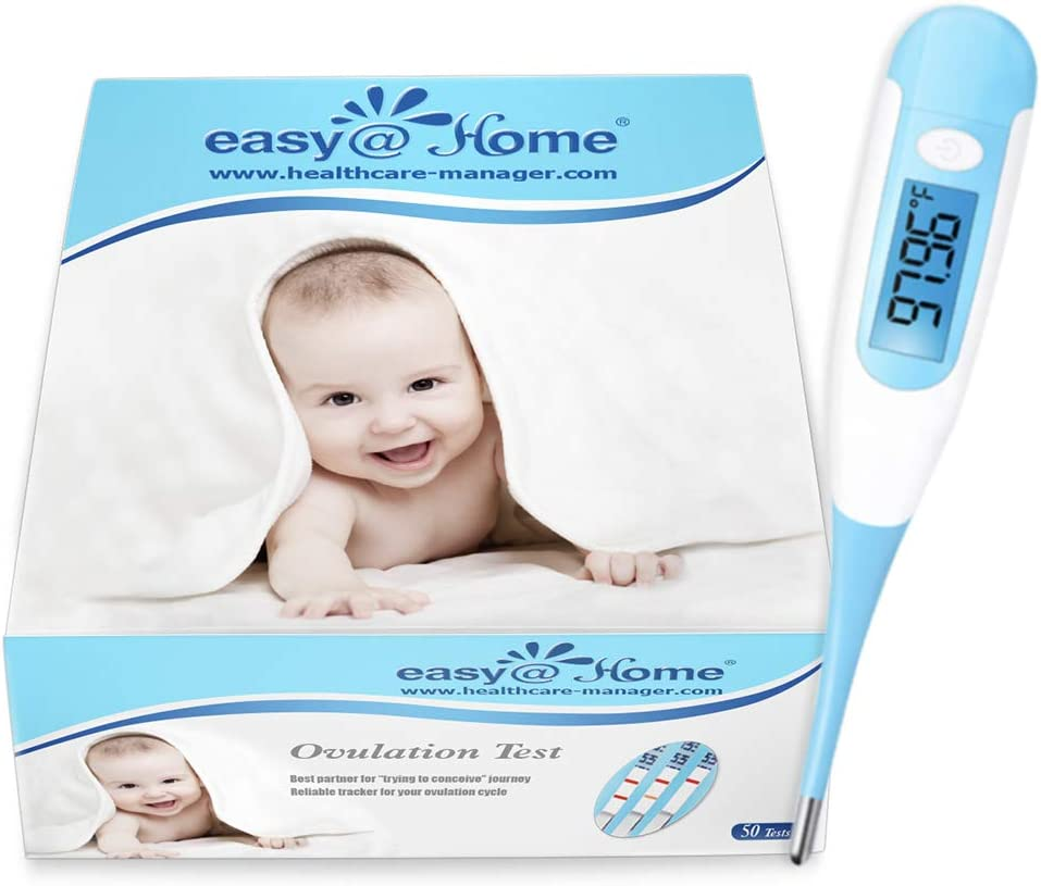 Easy@Home Ovulation Test and Digital Basal Thermometer, 50LH Strips+EBT-100