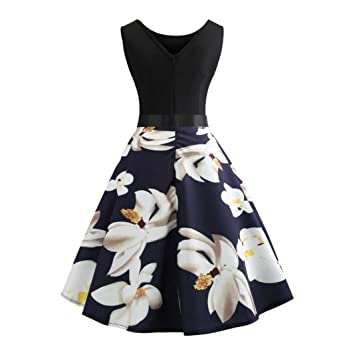 b2dbe19ad8b Women Vintage Dress Clearance Daoroka Sexy Sleeveless Butterfly Printed  Evening Party Prom Swing Dress With Sashes