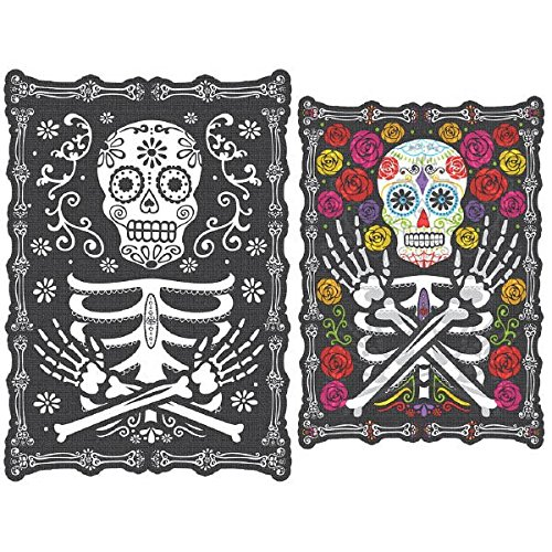 Amscan Day of The Dead Halloween Party Sugar Skull Lenticular Hanging Sign Decoration, Paper, 18