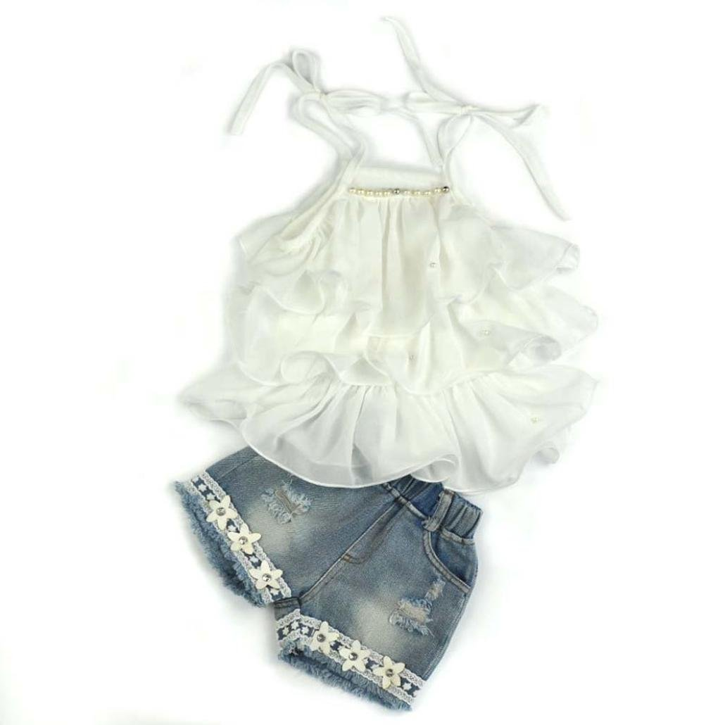 Summer Girls Clothes Outfits Mingfa Toddler Baby Kids Chiffon Pearl Vest Skirt+Jean Short Pants Set for 2-7 Years Olds