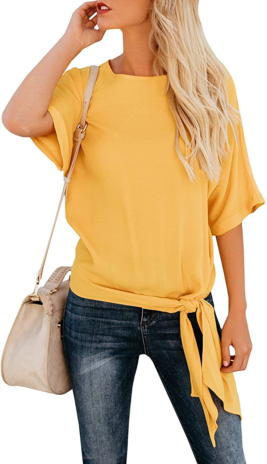 OURS Women's Casual Knot Tie Front Half Sleeve Summer T Shirt Blouses Tops