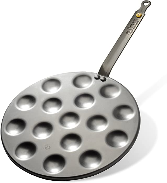 MINERAL B Round Carbon Steel Pan 10.75-Inch for cooking 16 Aebleskivers O 1.6-Inch