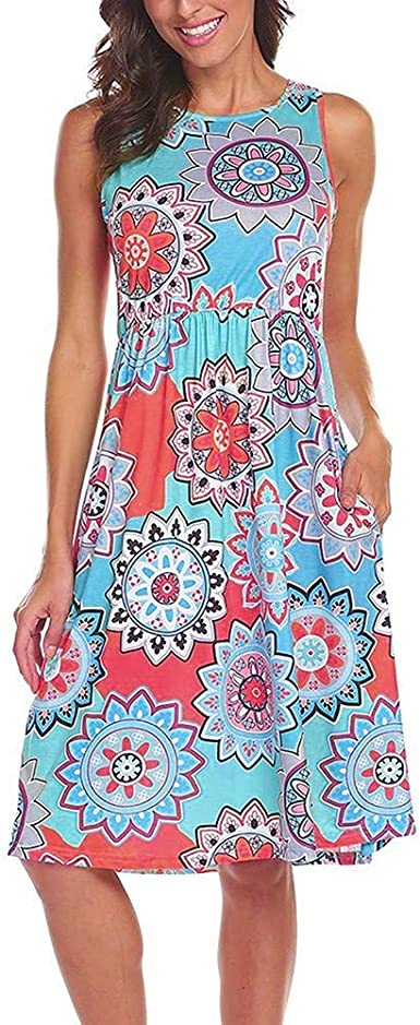 Quealent Womens Sleeveless O-Neck Floral Print Vintage Patchwork Pockets Puffy Swing Casual Party Dress