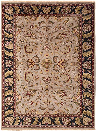 eCarpet Gallery Large Area Rug for Living Room, Bedroom | Hand-Knotted | 100% Wool | Royal Mahal Bordered Grey Rug 8'6