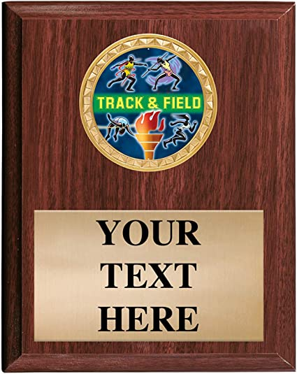 """TRACK trophy plaque black board 5/"""" x 7/"""" personalized"""