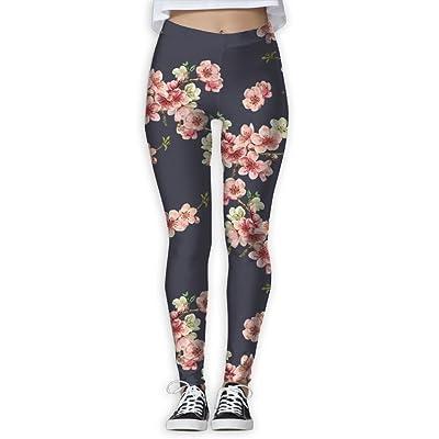 LINSHANGYI Cherry Blossom Compression Yoga Pants Leggings Casual Capri Skinny Pants