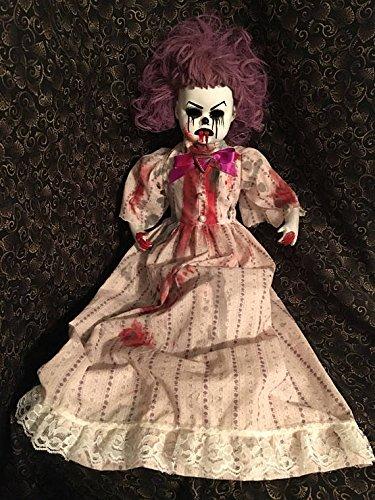 Large Porcelain Doll - Large Sitting Bloody Purple Hair Clown Circus Sideshow Creepy Horror Doll by Bastet2329 Christie Creepydolls