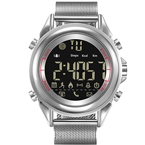 Ridecle Bluetooth Reloj Inteligente Hombres Relojes Reloj Digital de Acero Completo Banda de muñeca Fitness podómetro
