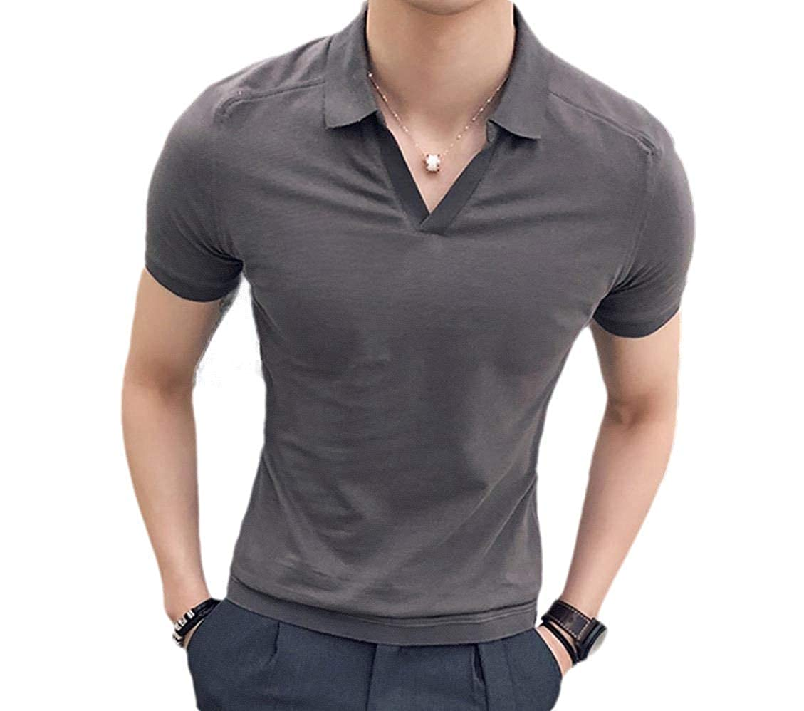 Coolred-Men Polo-Collar Summer Solid Color Slim Business Blouse T-Shirt Tops