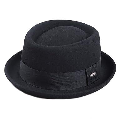 bcb0312ab83 Fedora Hats Men 100% Australia Wool Pork Pie Hats for Classic Church Wool  Felt Hat Autumn Winter at Amazon Men s Clothing store