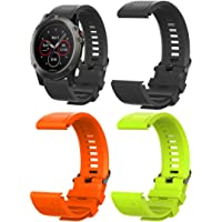 ECSEM 26mm Quick Fit Band Compatible with Garmin Fenix 5X/ Fenix 5X Plus/Fenix 3/ Fenix 3 HR/Fenix 3 Sapphire Easy Fit Quick Release Soft Silicone Watch Band (3pcs-Black+Orange+Grass)